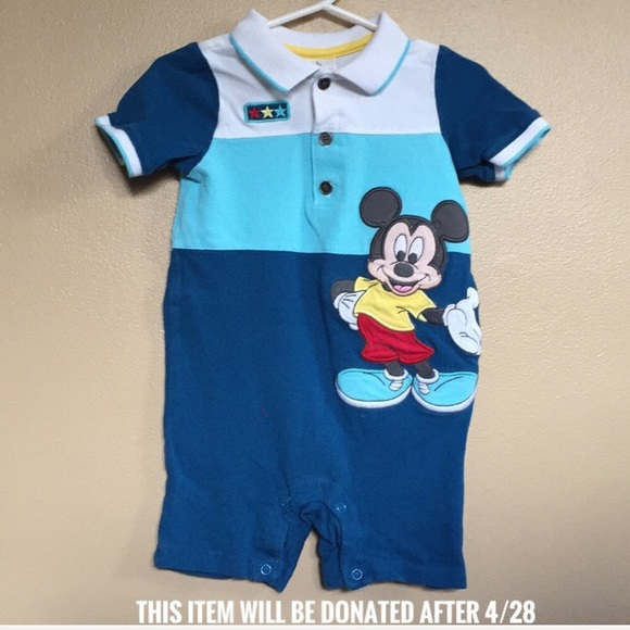 c63637db1 Disney One Pieces   Baby 1824 Month Mickey Mouse Polo Romper   Poshmark